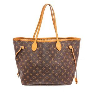 Louis Vuitton Canvas Leather Neverfull MM Tote Bag